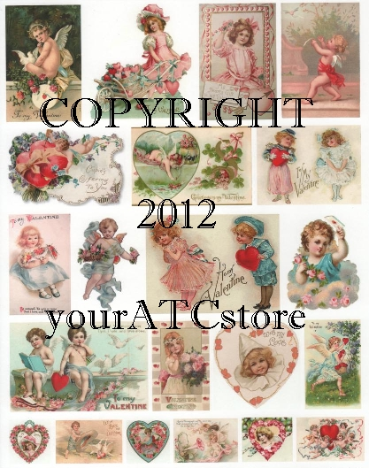 yourATCstore Soft & Sweet Valentines Collage Sheet #2