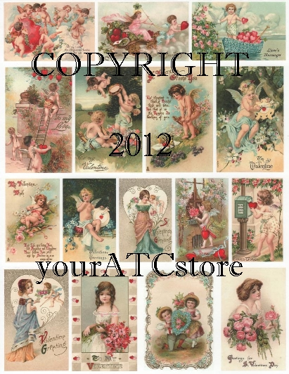 yourATCstore Soft & Sweet Valentines Collage Sheet #1