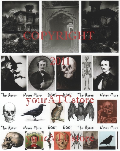 yourATCstore Halloween Spooks, The Raven & More Collage Sheet