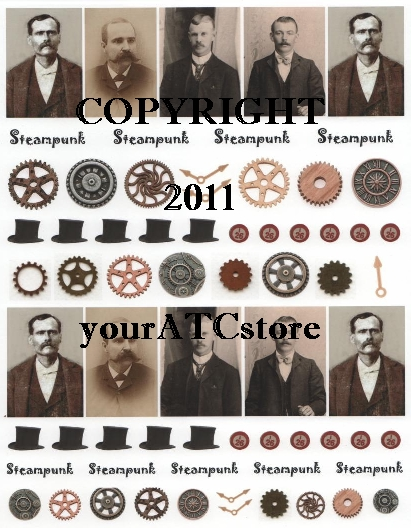 yourATCstore ATC Steampunk Guys Collage Sheet