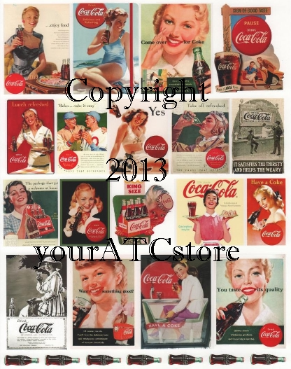 yourATCstore Vintage Coke Ads #2 Collage Sheet