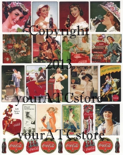 yourATCstore Vintage Coke Ads #3 Collage Sheet