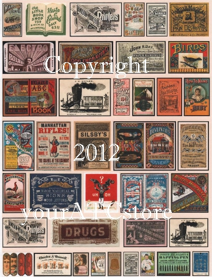 yourATCstore Vintage Ephemera Collage Sheet