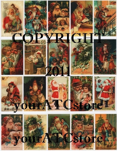 yourATCstore Christmas Vintage Santas #2 Collage Sheet