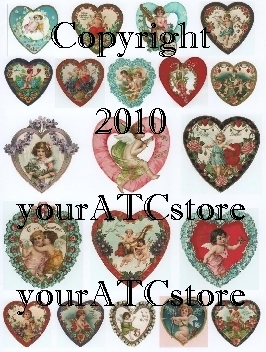 yourATCstore Vintage Valentine Hearts Collage Sheet