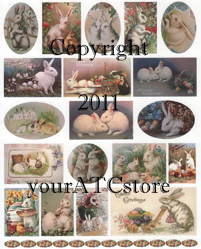 yourATCstore White Easter Bunnies Collage Sheet