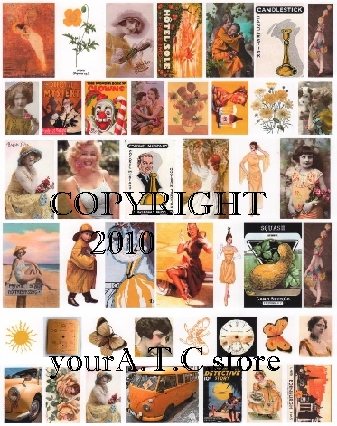 yourATCstore Artist Trading Card Collage Sheet - Yellow